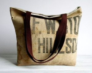 Beautiful tote bag made from recycled hessian coffee bags for sale at quest coffee.com.au