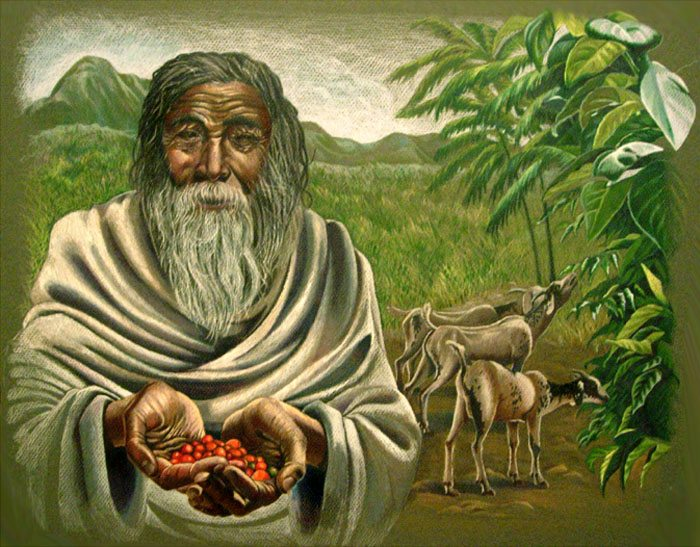 The history of coffee; Kaldi and his dancing goats.