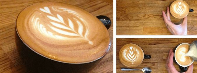 Beautiful Latte made at Quest Coffee Roasters