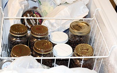 Coffee storage in freezer