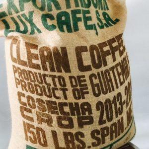 Guatemala Organic Arabica coffee in hessian sack.