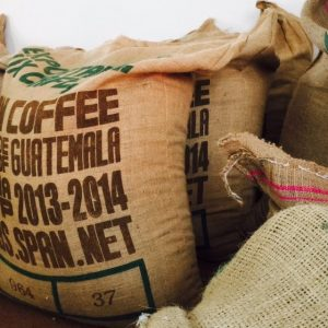 Hessian (Burlap) coffee bags at the Quest Coffee Roasters warehouse where we roast all our coffee beans to perfection.