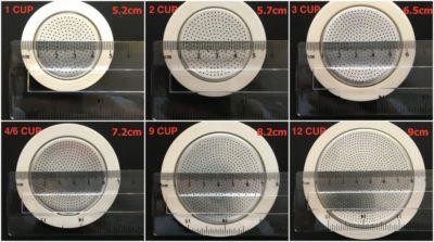 Bialetti Aluminium Seal & Filter Packs with diameter measurements