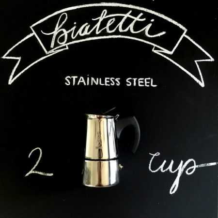Italian Made Bialetti Stovetop Espresso Stainless Steel in 2 cup size.