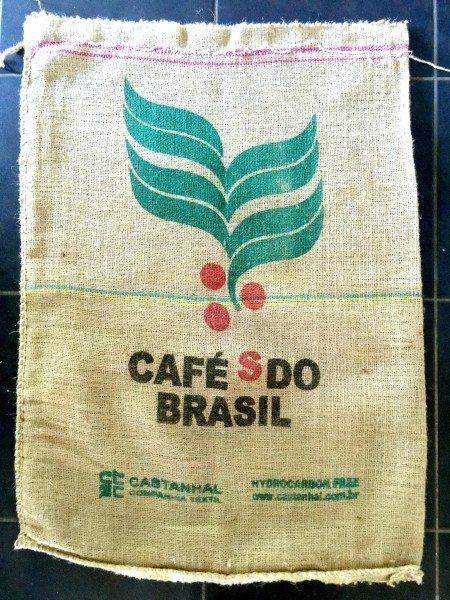 Hessian Bag from Cafes do Brazil; front of bag.