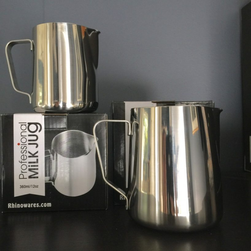 Professional Stainless Steel Milk Jug by Rhinowares in 2 sizes.
