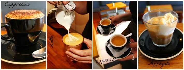 Cappuccino, Latte, Espresso and Affogato made at Quest Coffee Roasters