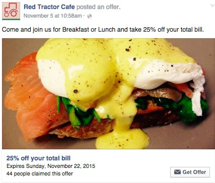 Red Tractor Cafe Facebook Offer