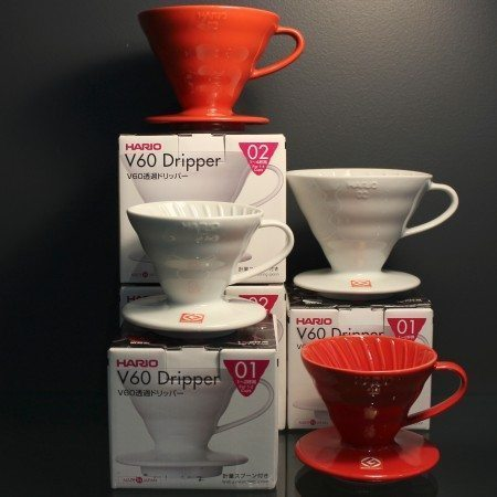 Hario pour-over ceramic coffee drippers in red and white