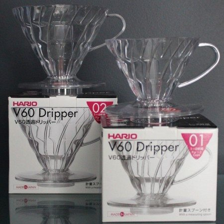 Hario pour-over transparent coffee makers VD-01 & 02