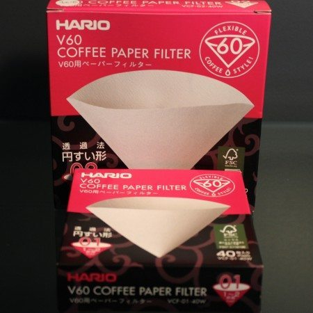 Paper filters used in Hario V60 coffee drippers