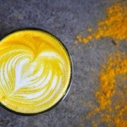 Golden Turmeric Latte made with almond milk, cinnamon and honey