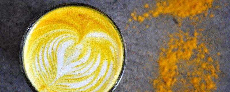 Golden Turmeric Latte made with almond milk, cinnamon and honey