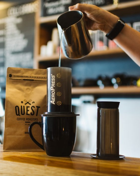 Aeropress + free coffee Promo available at Quest Coffee Roasters. Aeropress Brewing System plus 500g bag of beans at an amazing price! Choose a single or double deal!