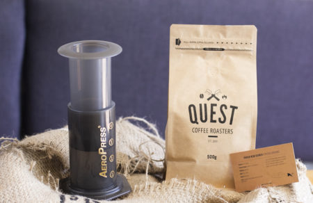 Promo Deal for August 2018 at Quest Coffee Roasters. 1 x Aeropress Brewing System and 500g PNG Kokoda single origin beans for just $50.
