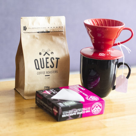 Hario Pour Over Perfection Promo Deal. Choose from a V01 Red, White or Pink dripper and then add V01 paper filters and 250g bag of beans! 25% price drop for the month of October only.