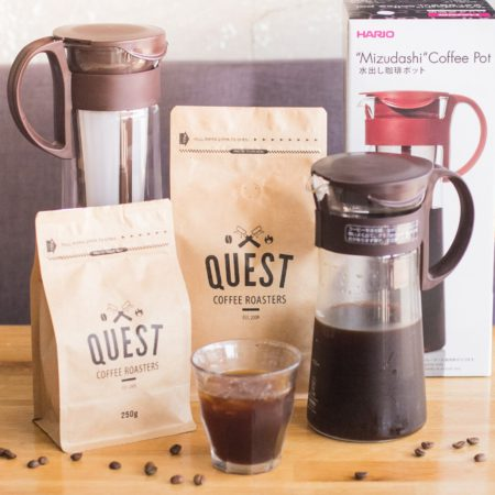 Mizudashi Cold Brew Madness. Promo deal for Quest Coffee Roasters for October. Purchase 600ml + 250g beans of choice or 1ltr + 500g beans of choice. Prices slashed by approx. 25%!