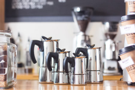 Italian Made Bialetti Stovetop Espresso Stainless Steel in 2, 4, 6 and 10 cup size.