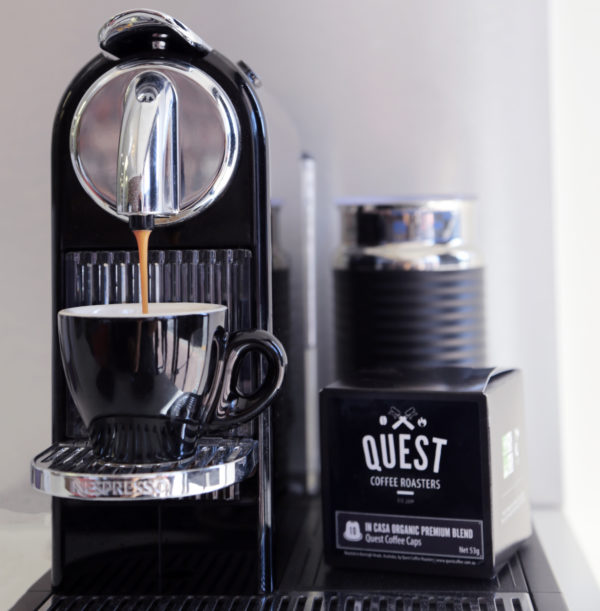 Quest Coffee Caps, coffee pods for Nespresso compatible coffee maker make for a delicious espresso on the go