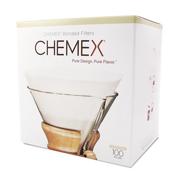 Chemex 6 cup filters - pre-folded 100 pack - white